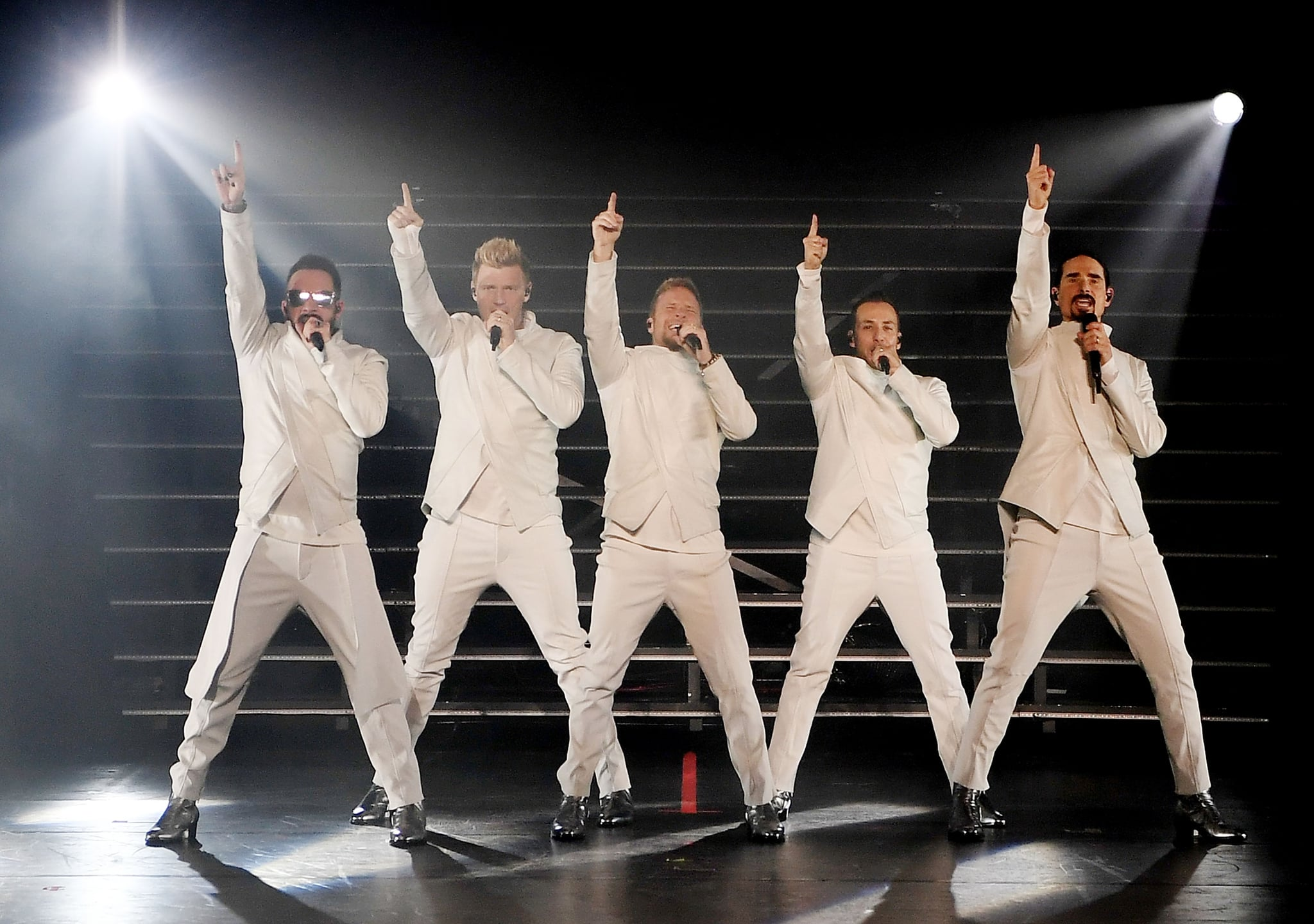 LAS VEGAS, NV - MARCH 01:  (L-R) Singers AJ McLean, Nick Carter, Brian Littrell, Howie Dorough and Kevin Richardson of the Backstreet Boys perform during the launch of the group's residency