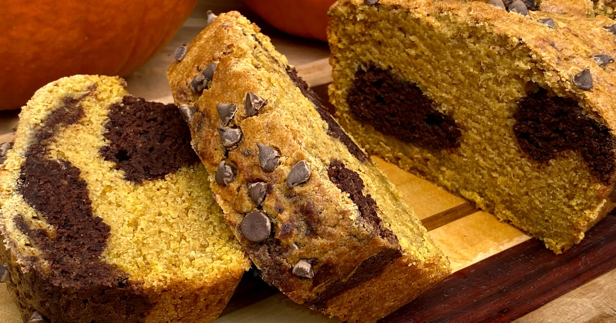 This Vegan High-Protein Chocolate-Marble Pumpkin Bread Has Under 6 Grams of Sugar!