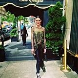 Hilary Rhoda showed off her Wes Gordon look outside of the Carlyle Hotel. Source: Instagram user hilaryhrhoda