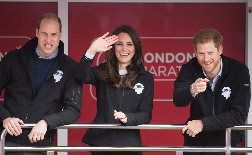 "Prince Harry, Prince William, and Kate Middleton all stepped out for the London Marathon. The trio — whose mental health campaign, Heads Together, was the official charity of the marathon — kicked off the race by sounding the klaxon at the start line and cheered on the racers from the sidelines. Harry threw himself into the pre-race warm up and greeted runners with warm hugs, while Will exchanged training tips and talked about previous notable marathon runners. Kate also got in on the fun, handing out water bottles and posing for pictures with the Heads Together team.  Will, Kate, and Harry are doing everything they can to improve the world's conversation about mental health, and as part of Heads Together's ""#OktoSay"" series, they recently sat down to talk about how the initiative has affected not only their community but their own lives as well. Kate touched on how difficult it was being a first-time mother to Prince George, and Will talked about how the campaign has helped him and his brother cope with Princess Diana's death almost 20 years later. ""We have been brought closer as a result of the circumstances,"" he said. ""You are uniquely bonded because of what we've been through."""