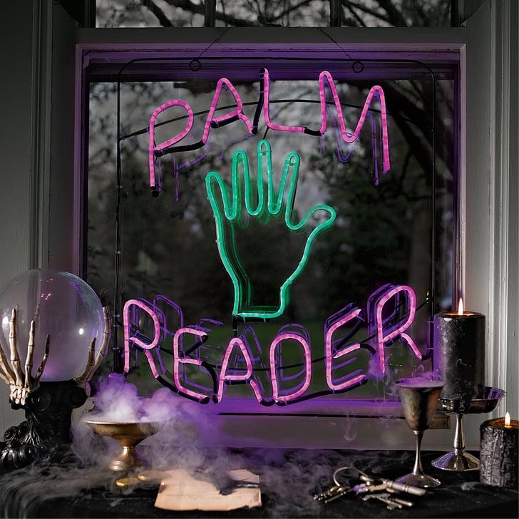 "Best 2019 Halloween Decor At Grandin Road: ""Palm Reader"" Neon Sign"