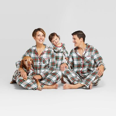 Holiday White Tartan Plaid Flannel Family Pajamas Collection