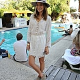 Jamie Chung topped off a lacy dress with a festival-perfect fedora while hanging at the pool.