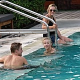 Julianne Hough swimming with brother Derek.