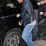 George Clooney wore jeans and a gray shirt to leave his hotel in NYC.
