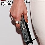 The actress polished off her look with statement rings and a black box clutch by Ferragamo.