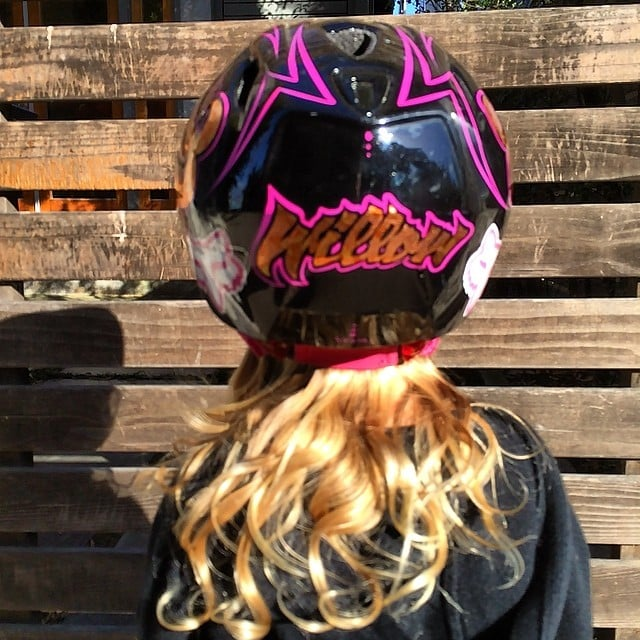Pink's daughter, Willow Hart, rocked out in a customized bike helmet. Source: Instagram user hartluck