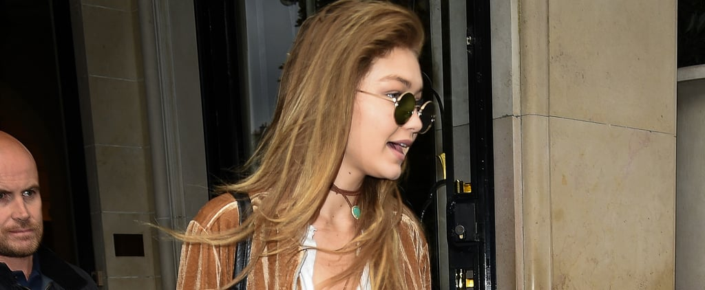 Gigi Hadid Wearing a White T-Shirt at Fashion Week