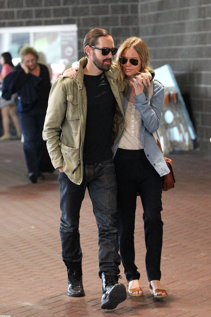 Kate Bosworth and her film director fiancé Michael Polish arrived at Louis Armstrong Airport in New Orleans on Sunday. The couple had the look of love as they held hands and walked arm in arm through the building, and they coordinated their outfits with denim and sunglasses. Kate made her way to Louisiana to film Homefront, an action flick that also stars Winona Ryder, James Franco, and Jason Statham. She's hitting the set after spending time Down Under to fulfill her promotional duties as the face of skin care brand SK-II. Kate wore a sexy white Preen outfit on the red carpet to launch the line at the Myer Sydney City store last week, and enjoyed downtime with Michael while sightseeing on Bondi Beach.