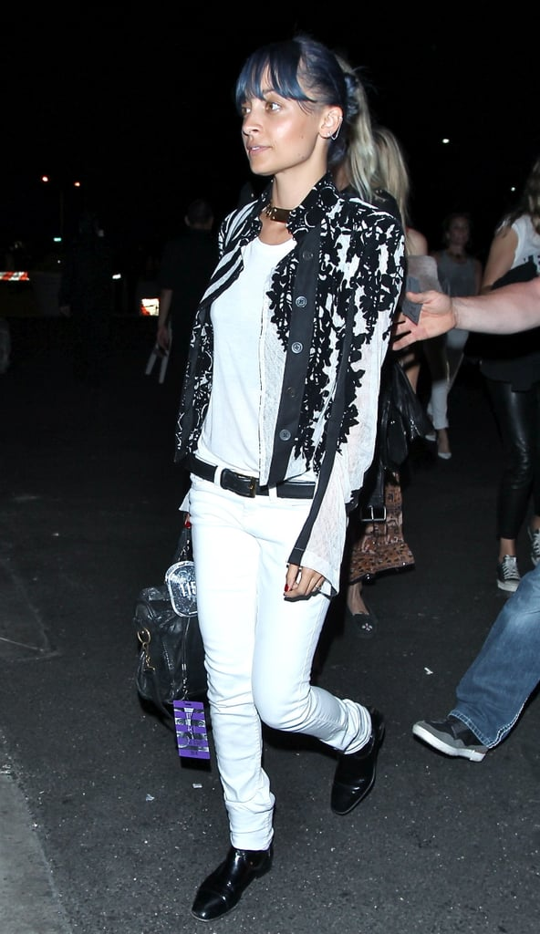 Nicole Richie flew solo to the Saturday gig.