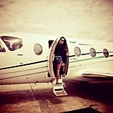 Alessandra Ambrosio took a picture of herself boarding her private plane while traveling through South America. Source: Twitter User AngelAlessandra