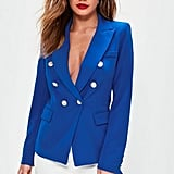Missguided Blue Tailored Military Jacket