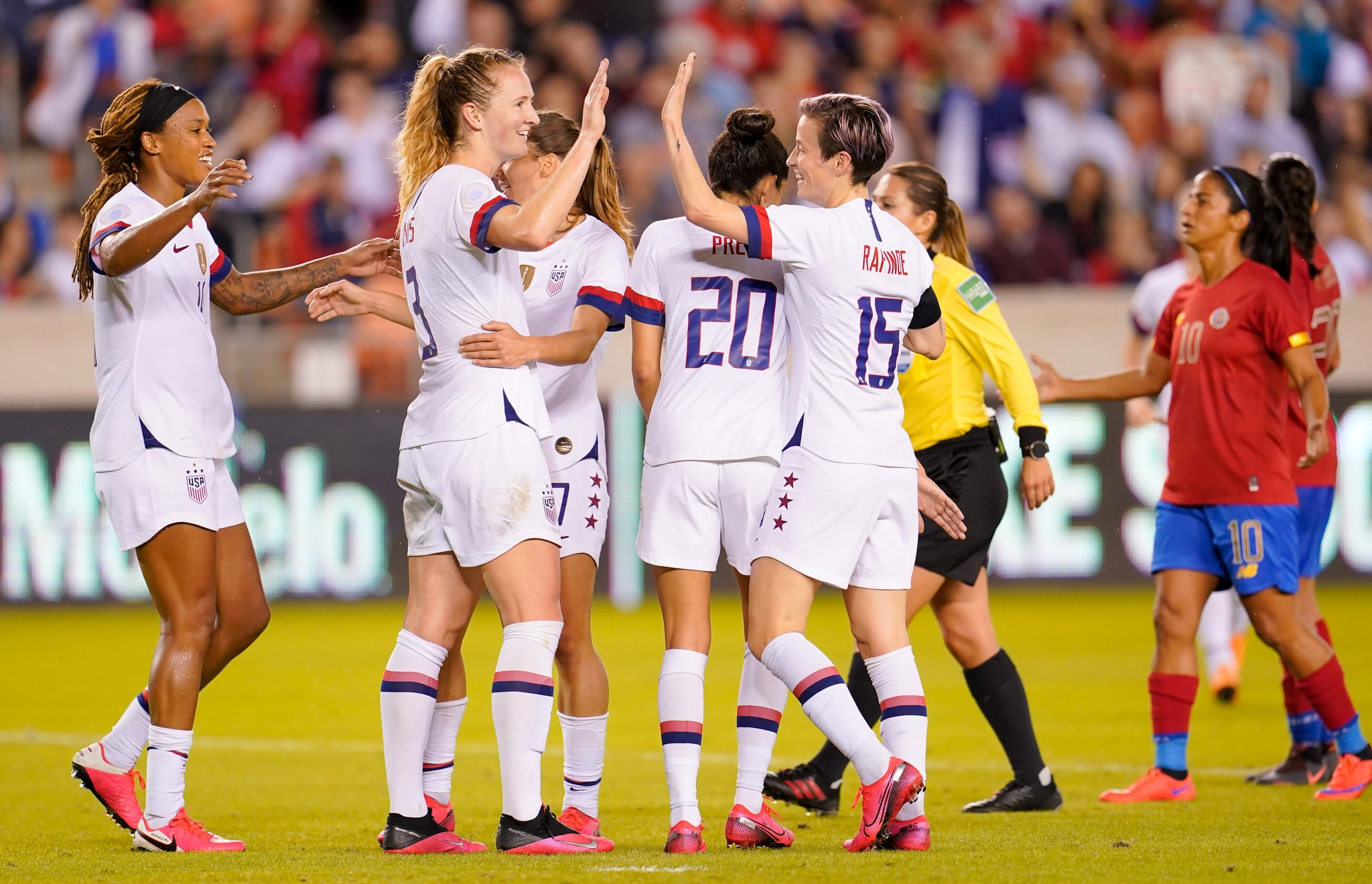 HOUSTON, TX - FEBRUARY 03: Samantha Mewis #3 of the United States celebrates her goal with Megan Rapinoe #15 during a game between Costa Rica and USWNT at BBVA Stadium on February 03, 2020 in Houston, Texas. (Photo by Brad Smith/ISI Photos/Getty Images)
