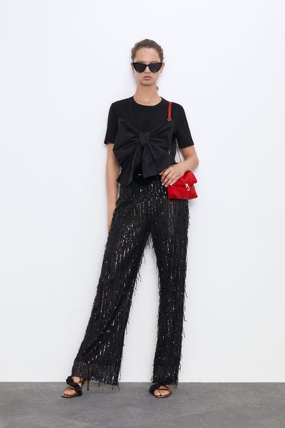 Zara Fringed Sequin Pants
