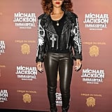 Good girl gone biker. The only thing missing from Rihanna's 2012 LA leather-on-leather look, embroidered jacket and slick pants, was a bad-ass Harley.
