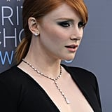 As for jewels, she kept it somewhat simple, opting for studs and a drop necklace.