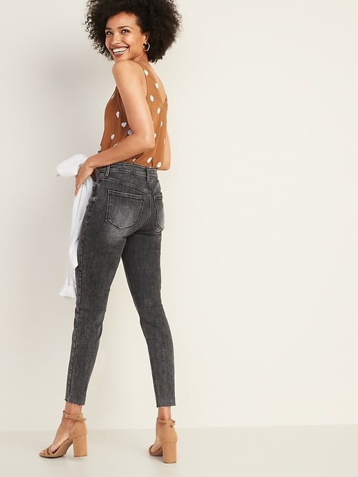 High-Waisted Button-Fly Rockstar Super Skinny Ankle Jeans