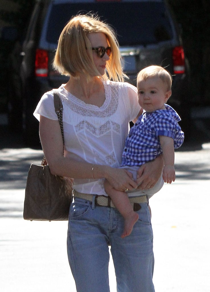 January Jones dressed Xander Jones in a plaid t-shirt for lunch.