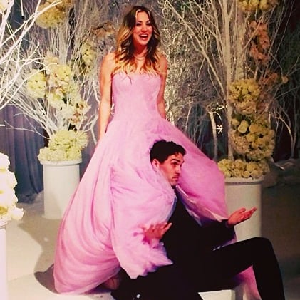 Kaley Cuoco Pink Vera Wang Wedding Dress