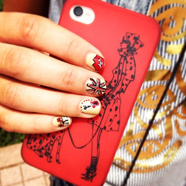 This nail art had a rock-star theme, and the detail is amazing. Oh, and did we mention this Dalmatian iPhone case is just as cool? Source: Instagram user POPSUGARBeauty