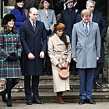 Meghan Markle gave a curtsy to the queen as she celebrated her first Christmas with then-fiancé Prince Harry's family in 2017.