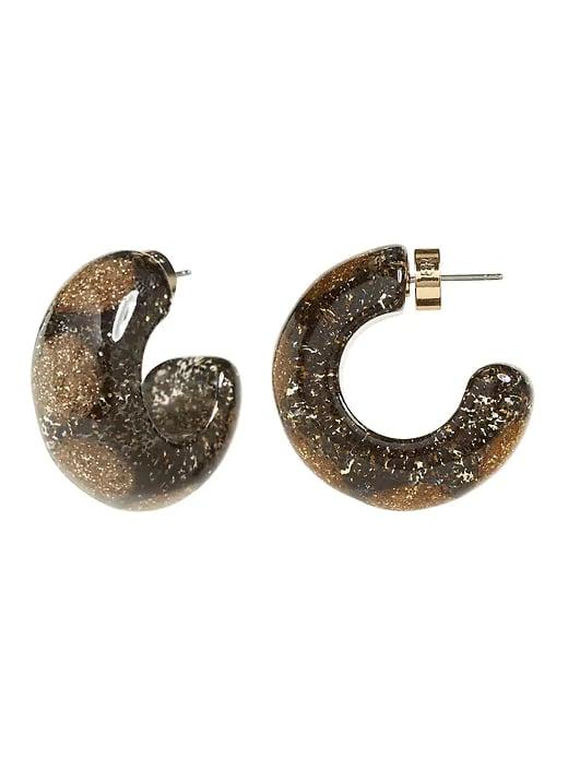 Glitter Resin Hoop Earrings