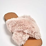 Forever 21 Faux Fur Crisscross Slides