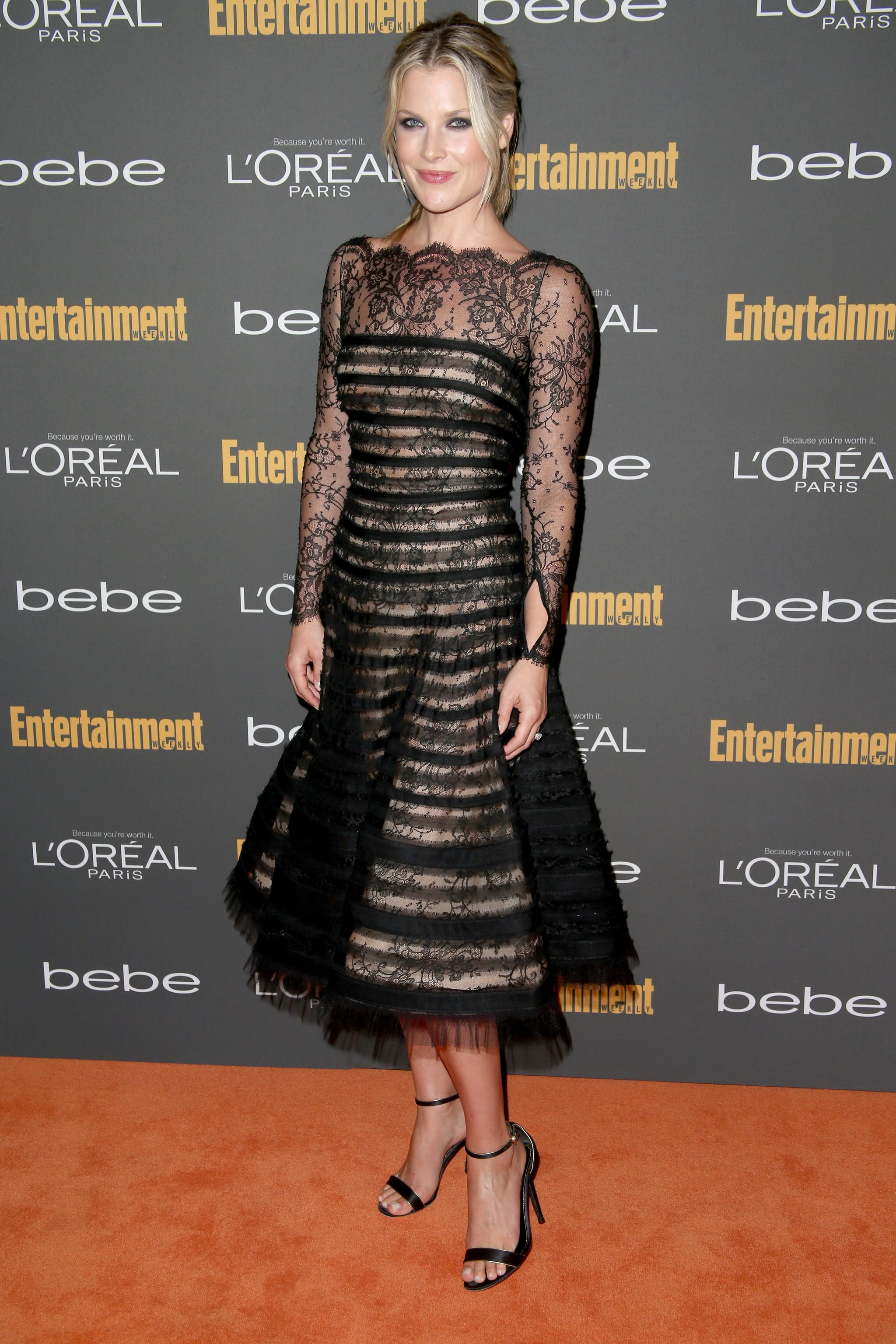 Ali Larter's black striped, lace fit-and-flare dress stood out for being ladylike on the Entertainment Weekly pre-Emmys party red carpet.