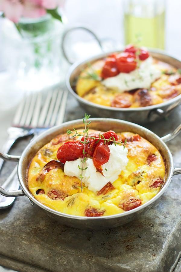 Tomato, Sausage and Ricotta Frittatas