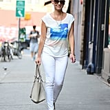 Olivia Munn reminded us that sometimes bigger is better. She opted for oversize shades like this pair from ASOS ($20) while out and about. She finished with an American Eagle photo tee.