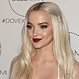 Dove Cameron With Tousled Waves and Pearl Hair Accessories