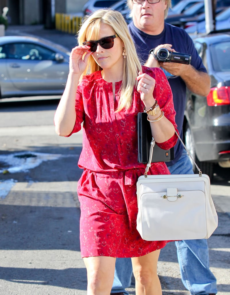 Reese Witherspoon wore a short red dress in Brentwood.