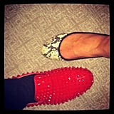 Annie had a shoe-off with Will.i.am, who was sporting some spiked Louboutins.