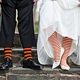 Matching socks that aren't visible are a sweet detail for just you and the groom.