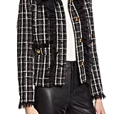 Halogen® x Atlantic-Pacific Tulle Ruffle Plaid Jacket