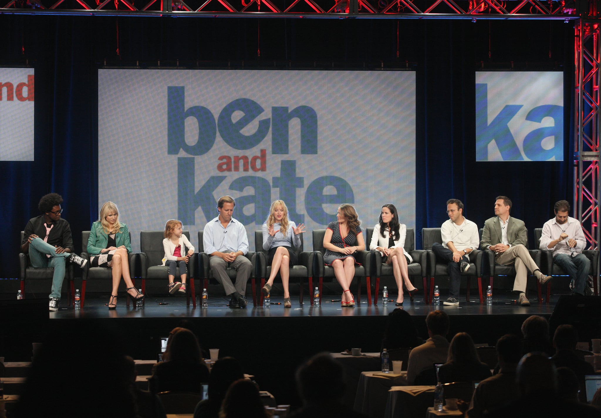Echo Kellum, Dakota Johnson, Maggie Elizabeth Jones, Nat Faxon, and Lucy Punch, creator/executive producer Dana Fox, executive producers Katherine Pope, Jake Kasdan, Garrett Donovan, and Neil Goldman all turned up for the Ben and Kate panel during the 2012 TCA Tour.