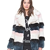 Take your stripe addiction into the cold-weather season with this Juicy Couture Striped Faux Fur Coat ($398).
