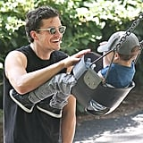 Orlando and Flynn Bloom spent the afternoon together at Central Park in NYC on Saturday.