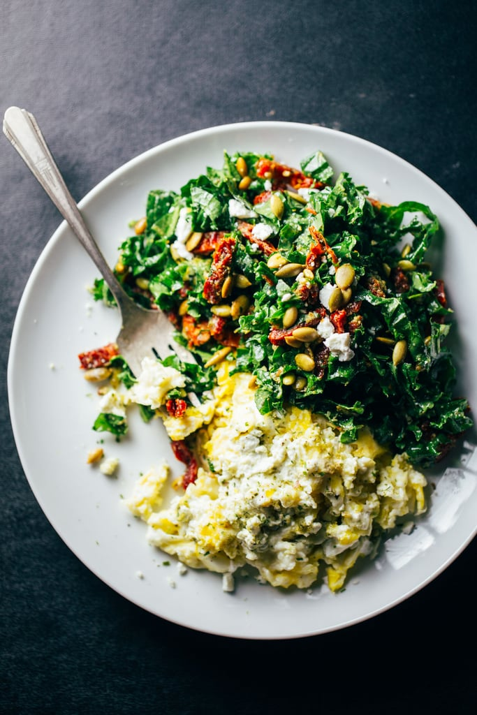 Goat Cheese Scrambled Eggs With Pesto and Kale
