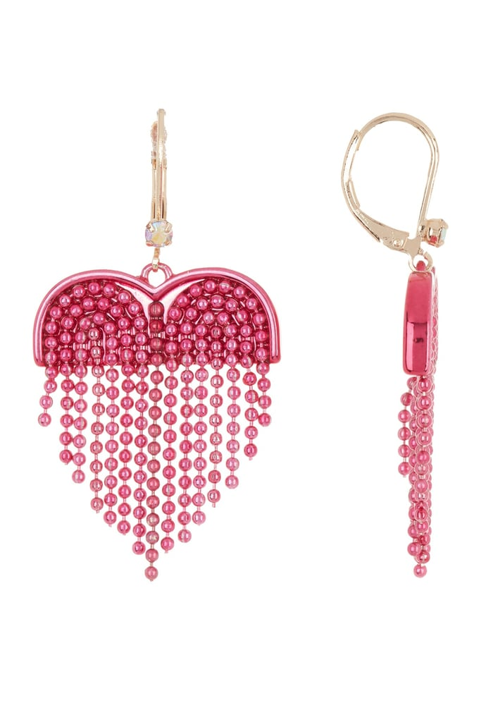 Betsey Johnson Fringe Heart Drop Earrings