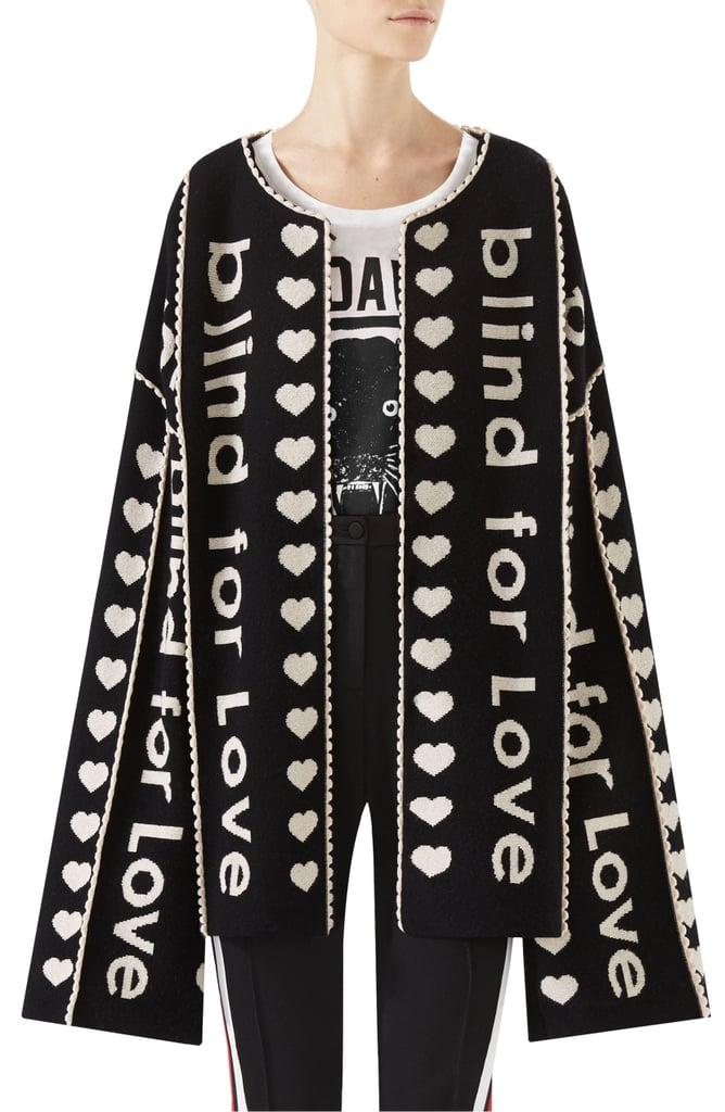 e9f64cde9636b6 Gucci Blind For Love Jacquard Sweater Coat | Best Gucci Sweaters ...
