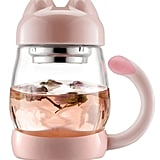 Glass Tea Cup With Lid and Strainer