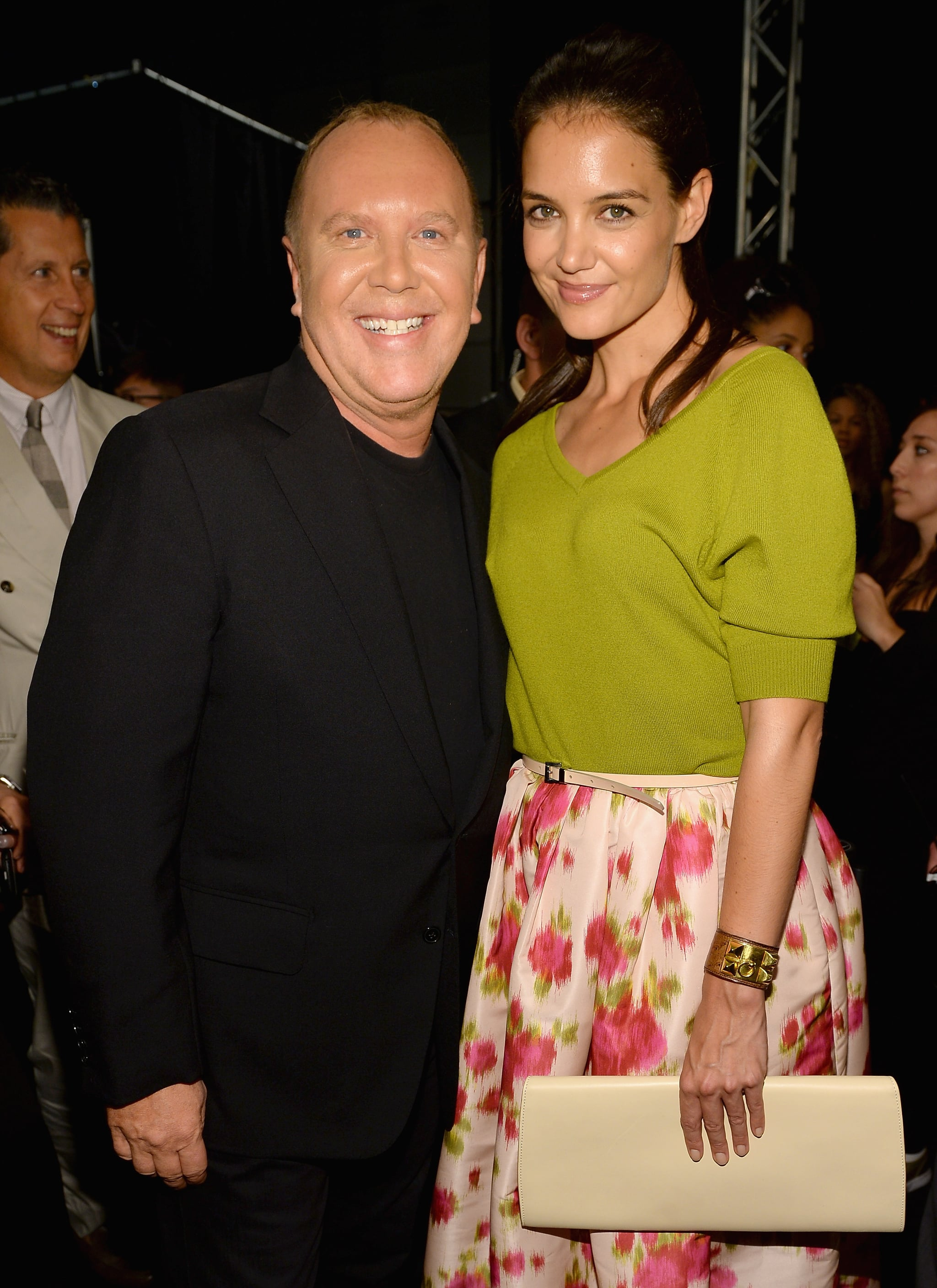 Katie Holmes posed backstage with designer Michael Kors.