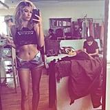 Hailey Baldwin Wearing Denim Shorts Unbuttoned