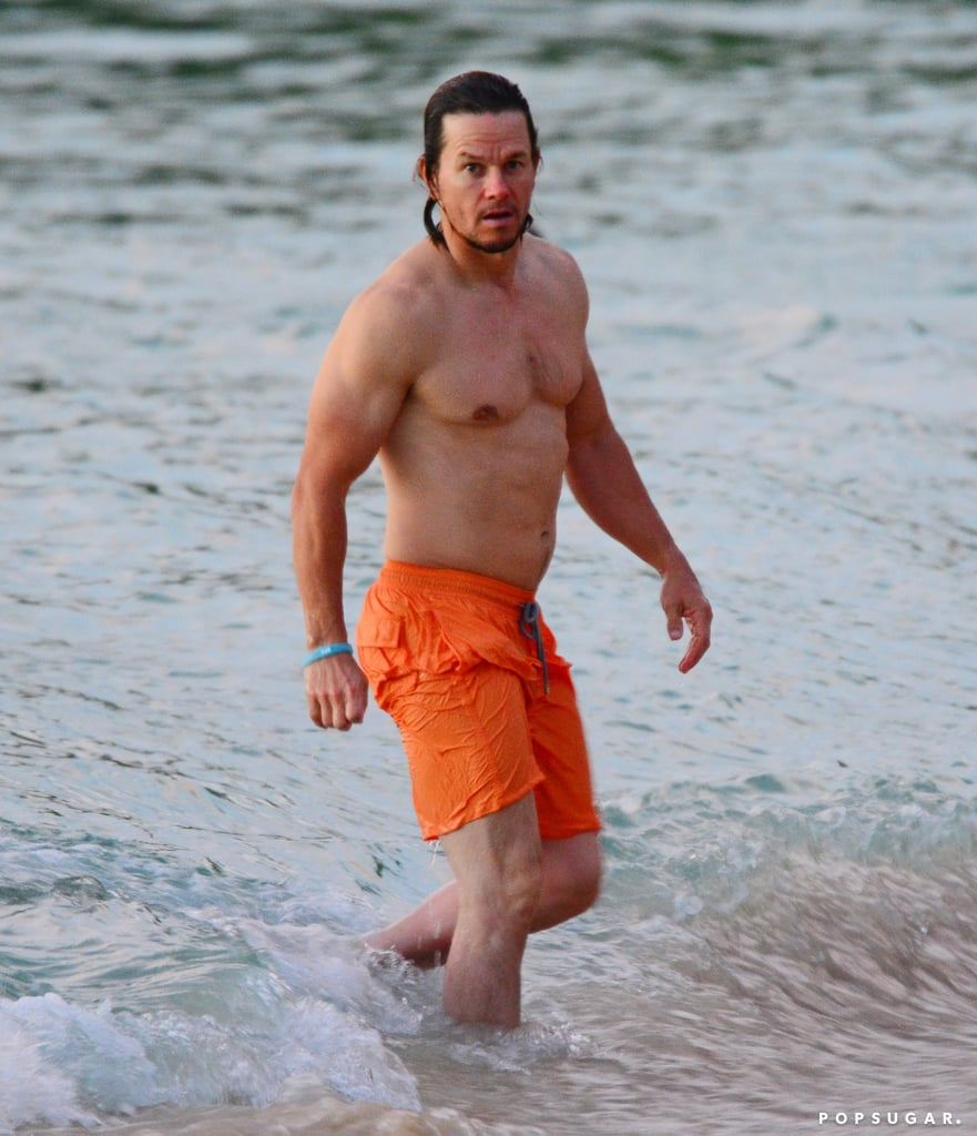 Mark Wahlberg Shirtless on Beach in Barbados October 2016