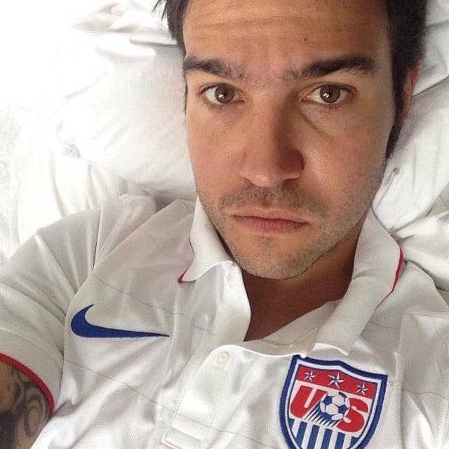 Despite being sick in bed, Pete Wentz still made sure to cheer on Team USA. Source: Instagram user petewentz