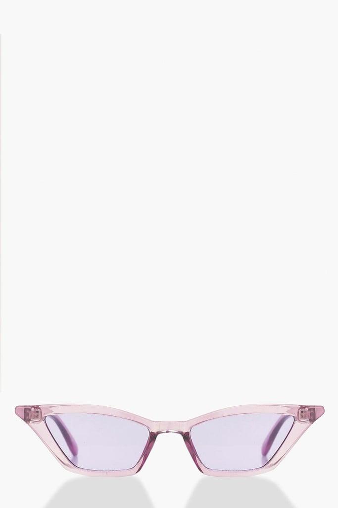 Boohoo Purple Winged Skinny Cat-Eye Sunglasses