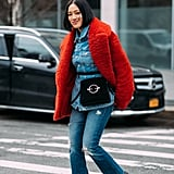 Top off double denim with a bold coat like Tiffany Hsu.