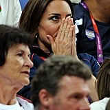 Kate was nervous watching artistic gymnastics on day nine.