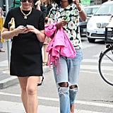 Julia Sarr-Jamois is effervescent (as always) in a daisy-printed tee and ripped denim jeans — could she be any cuter? Source: Greg Kessler